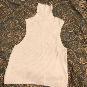 thick knit turtleneck tank top in white